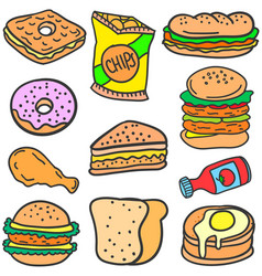 Set of food style design doodles vector