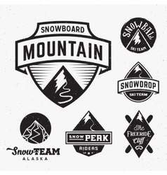 Set of ski snowboard snow mountains sport logos vector
