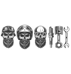 set of skulls in the biker equipment vector image