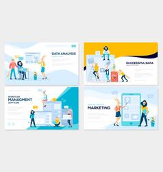 set of social media marketing data analysis vector image