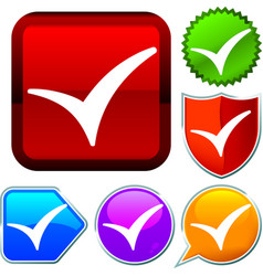 Set shiny icon series on buttons check mark vector