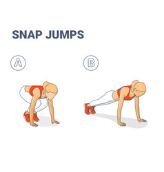 snap jumps or squat thrust exercise female vector image