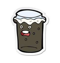 Sticker of a cartoon glass of stout beer vector