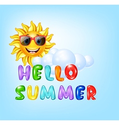 Summer background with cartoon sun character vector