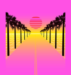 Synthwave with dream road grid and palms vector
