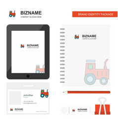 tractor business logo tab app diary pvc employee vector image