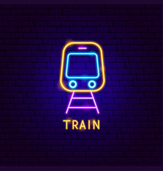 train neon label vector image