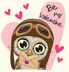 Valentine card with cute cartoon owl vector