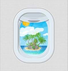 window from inside the airplane with island vector image