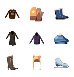Winter outfits icons set cartoon style vector