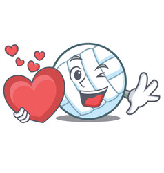 With heart volley ball character cartoon vector