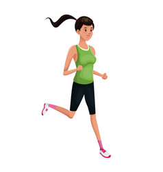 Woman sports running training vector