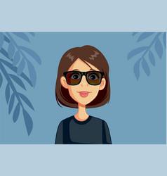 Woman wearing sunglasses vector