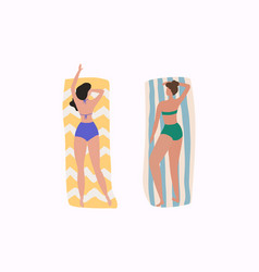 Women on beach summer holiday vector