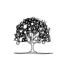 figure trees with some leaves and flowers icon vector image vector image