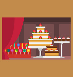 flat design restaurant food shop facade vector image vector image