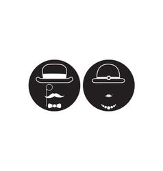 gentleman and lady symbol black icon vector image