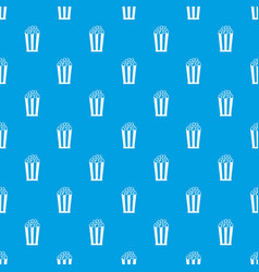 popcorn in striped bucket pattern seamless blue vector image vector image