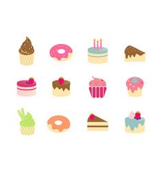 set a cake logo vector image
