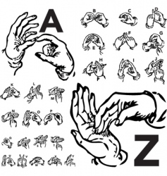 sign language set woodcut vector image vector image