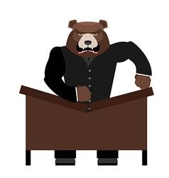 Big scary bear boss breaks table aggressive chef vector