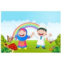 Happy muslim kid waving hand with rainbow vector image