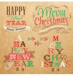 Set Merry Christmas Happy Kraft color vector image vector image