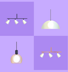 set of distinct shapes lamps vector image