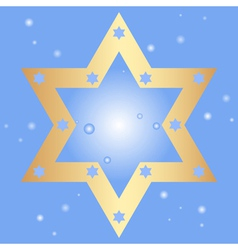blue background with golden star of David vector image