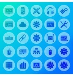 Programming Solid Circle Icons vector image