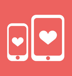 smartphone and tablet with heart icon vector image