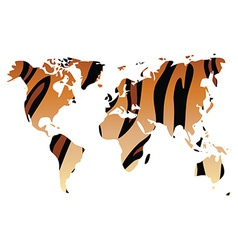 World map in animal print design tiger pattern vector image vector image
