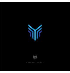 blue lines logo y monogram vector image