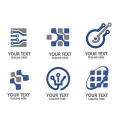 Electronic and sigital logo set vector