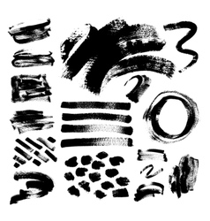 Set of 42 black ink hand drawing brushes vector