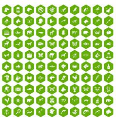 100 animals icons hexagon green vector