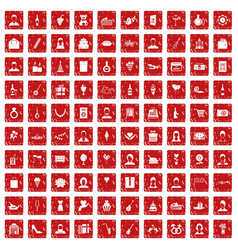 100 birthday icons set grunge red vector