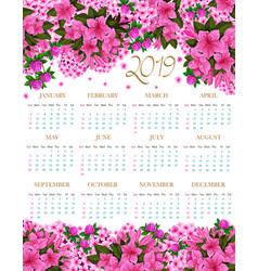 2019 calendar of spring pink flowers vector