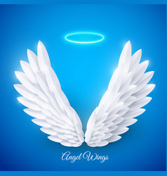 3d white realistic layered paper cut angel vector image