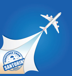 Airplane with santorini grunge rubber vector