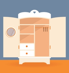 An empty white closet vector