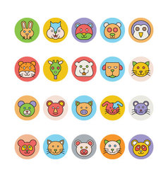 Animals Face Avatar Icons 2 vector