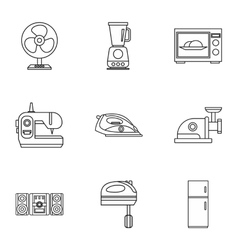 Appliances icons set outline style vector