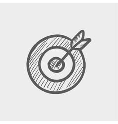 Arrow hit target sketch icon vector