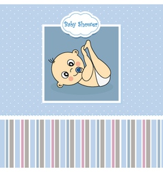 Baby boy birth Greeting Card vector image