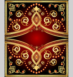 background frame with floral gold ornament and vector image