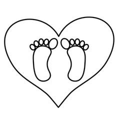 Bafoot prints in heart love vector