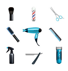 Barbershop icon set vector