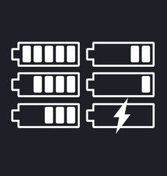 battery icon set on isolated background vector image