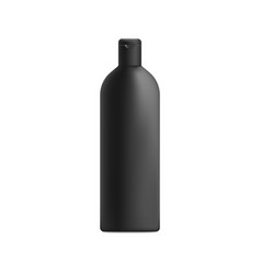 Black shampoo bottle mockup with realistic matte vector